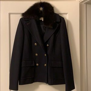 Tory Burch Jackets & Coats - Tory Burch navy blue wool & fur trim peacoat sz 6